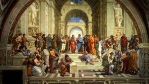 school-of-athens-showing-plato-aristotle-and-ptolemy-amongst-others